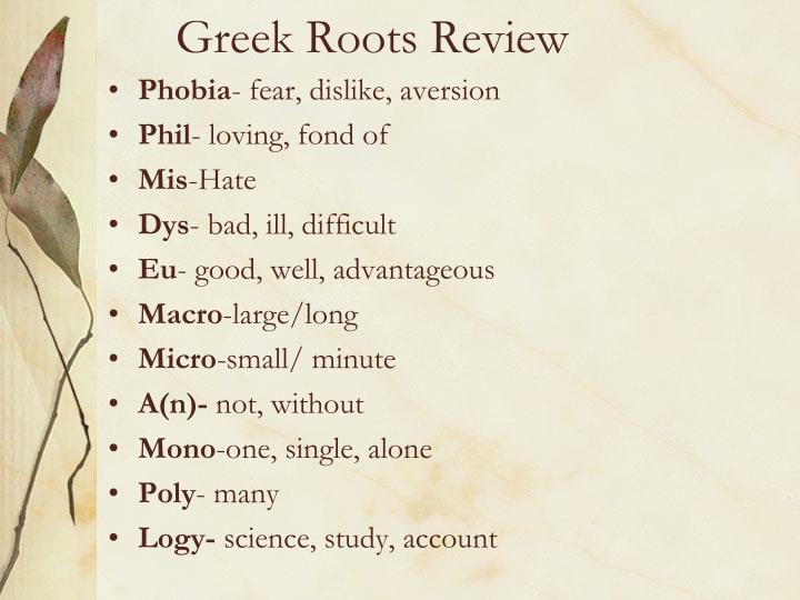 Greek Roots Review