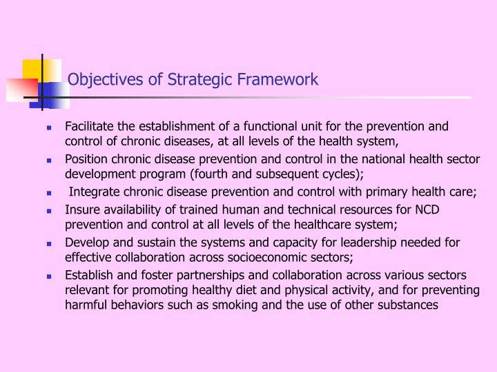 Objectives of Strategic Framework