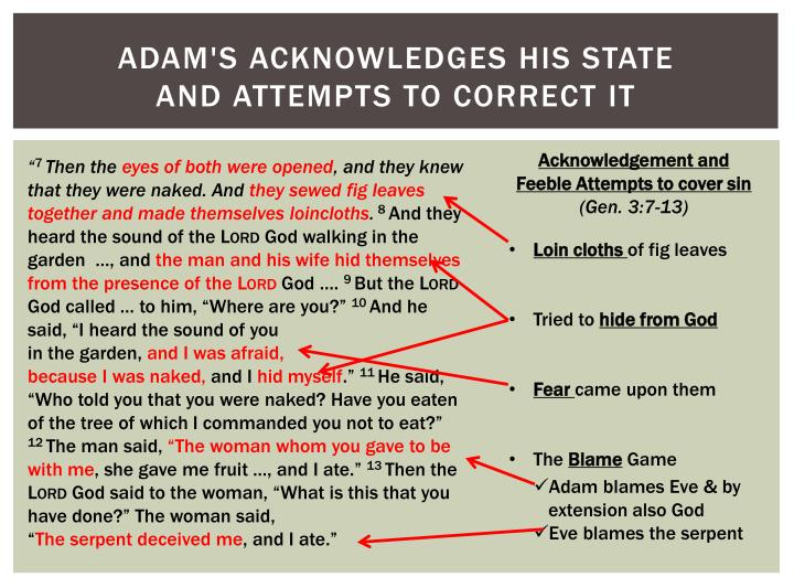 Adam's acknowledges his state