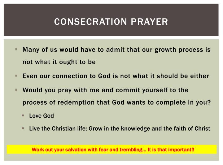 Consecration prayer