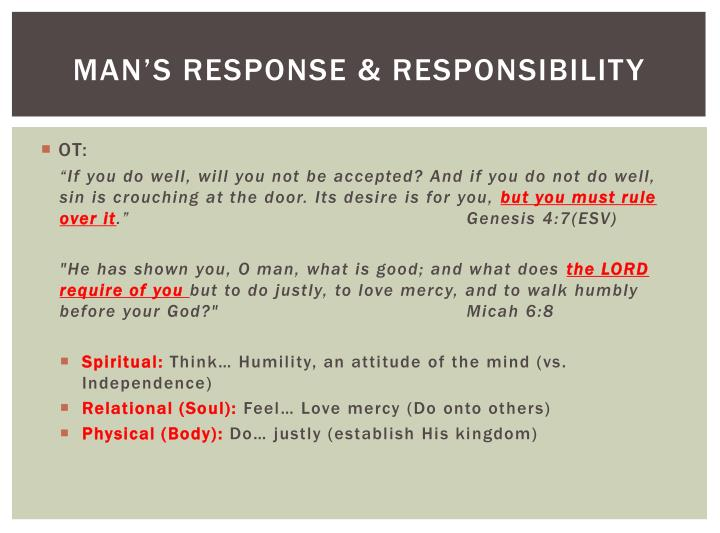 Man's response & responsibility