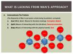 what is lacking from man s approach