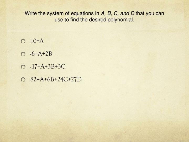 Write the system of equations in