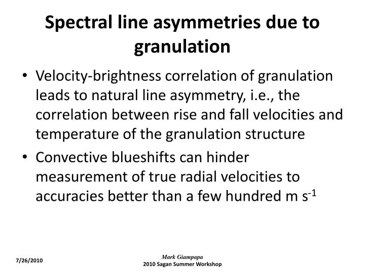 Spectral line asymmetries due to granulation