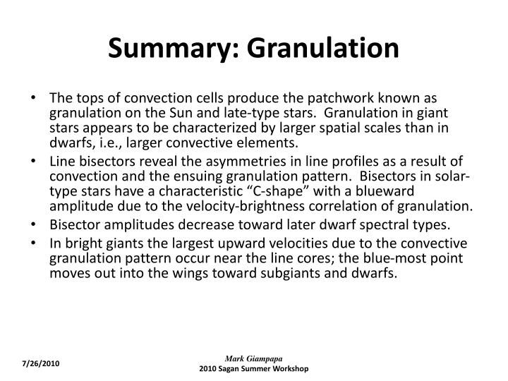 Summary: Granulation