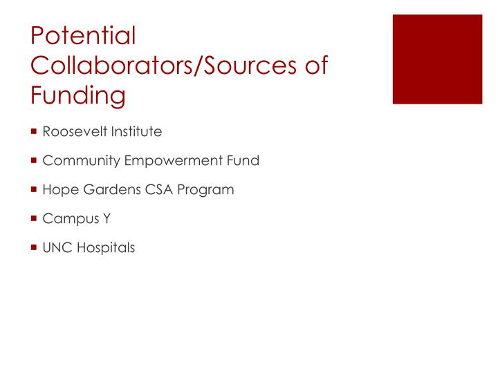 Potential Collaborators/Sources of Funding