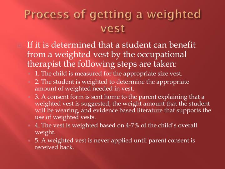 Process of getting a weighted vest