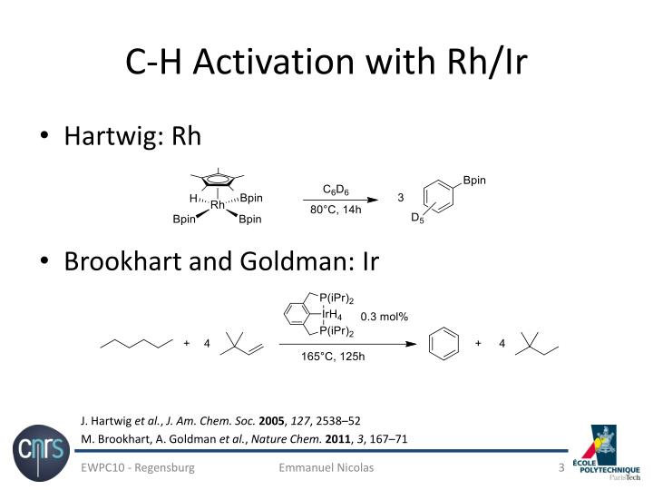 C h activation with rh ir