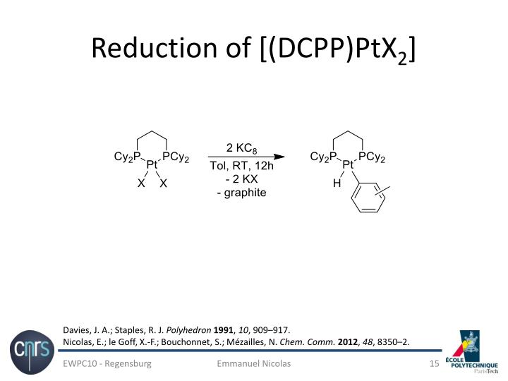 Reduction of [(DCPP)PtX