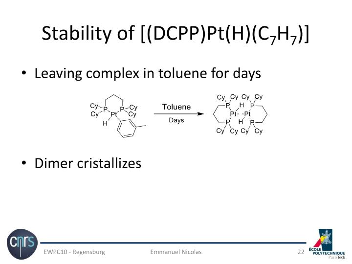 Stability of [(DCPP)Pt(H)(C