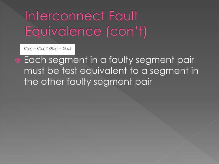 Interconnect Fault Equivalence (