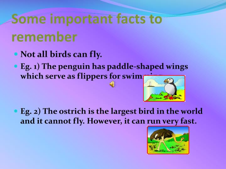 Some important facts to remember