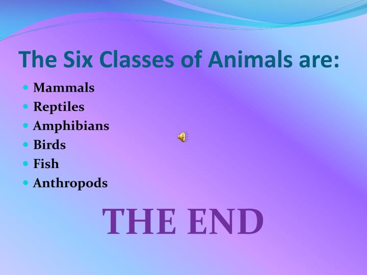 The Six Classes of Animals are: