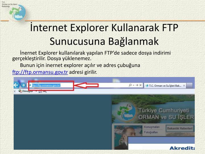 İnternet Explorer Kullanarak FTP
