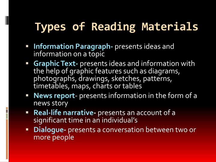 Types of reading materials