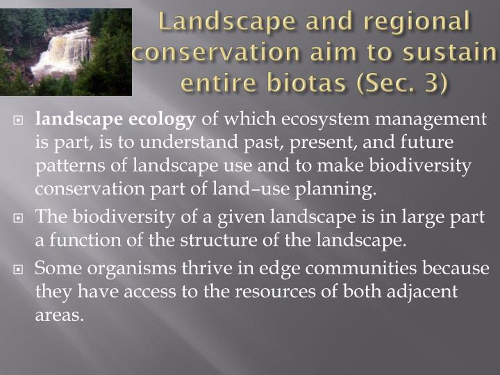 Landscape and regional conservation aim to sustain entire