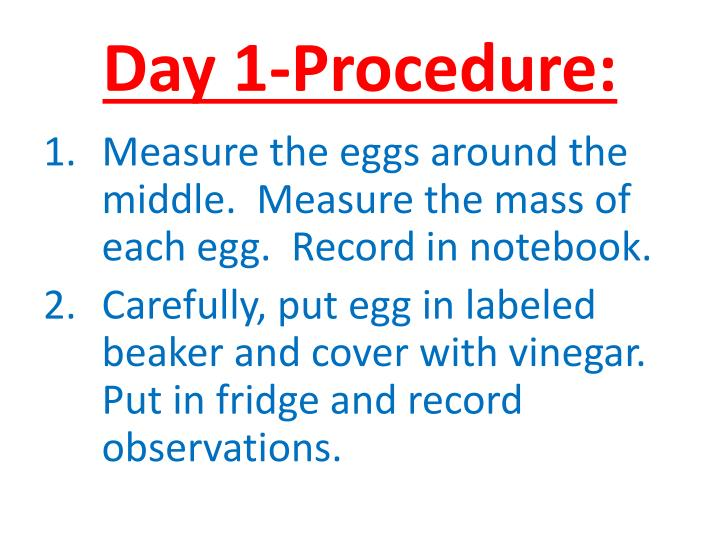 Day 1-Procedure: