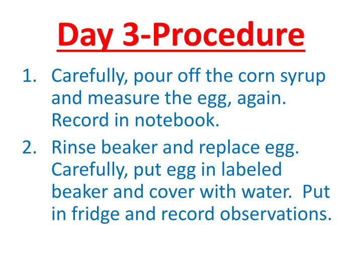 Day 3-Procedure