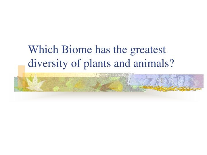 Which Biome has the greatest diversity of plants and animals?