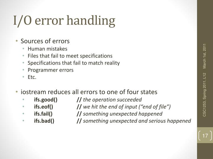 I/O error handling