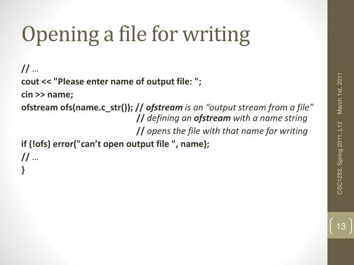 Opening a file for writing
