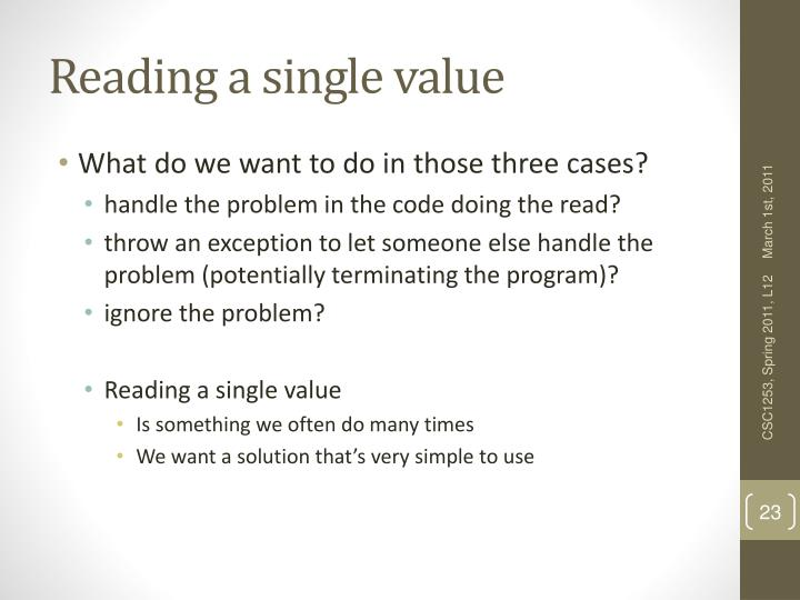 Reading a single value