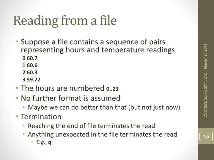 Reading from a file