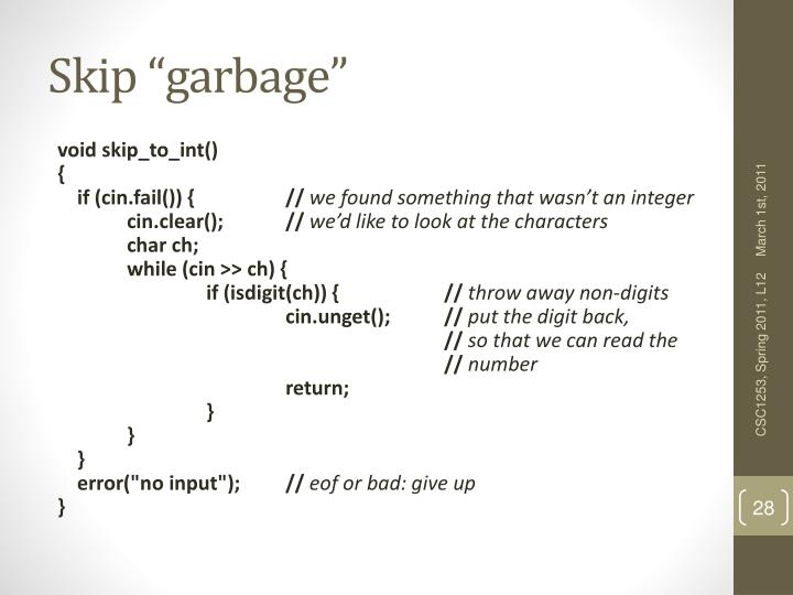 "Skip ""garbage"""