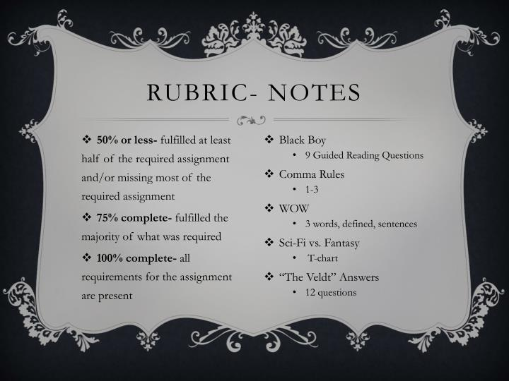 Rubric- notes