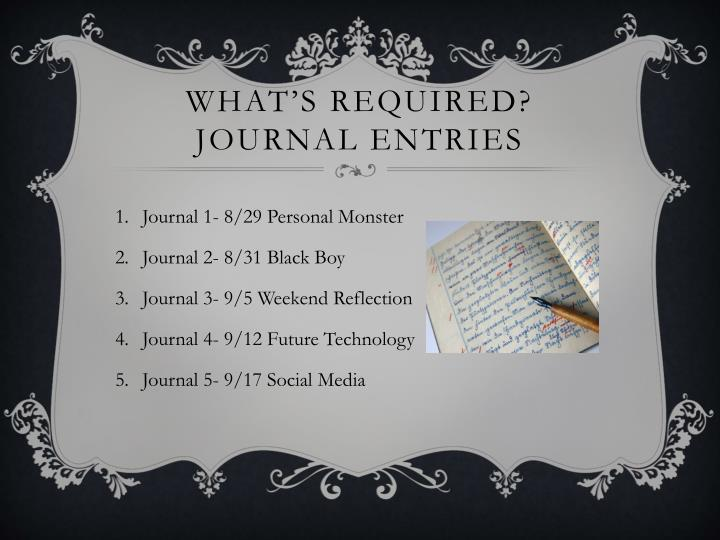 What s required journal entries