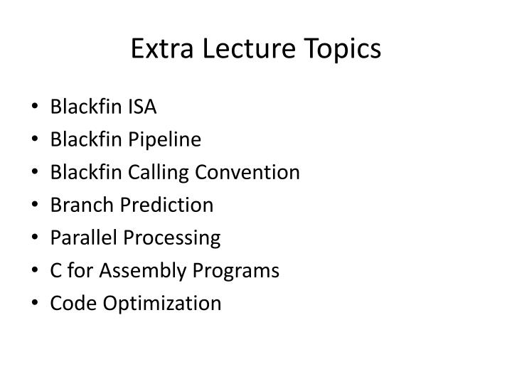 Extra Lecture Topics