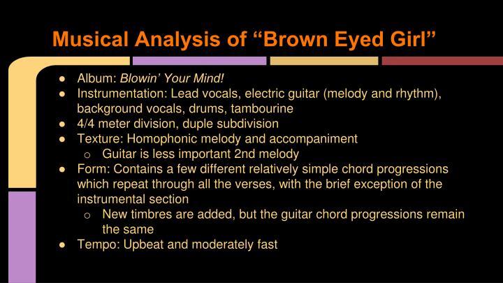 """Musical Analysis of """"Brown Eyed Girl"""""""