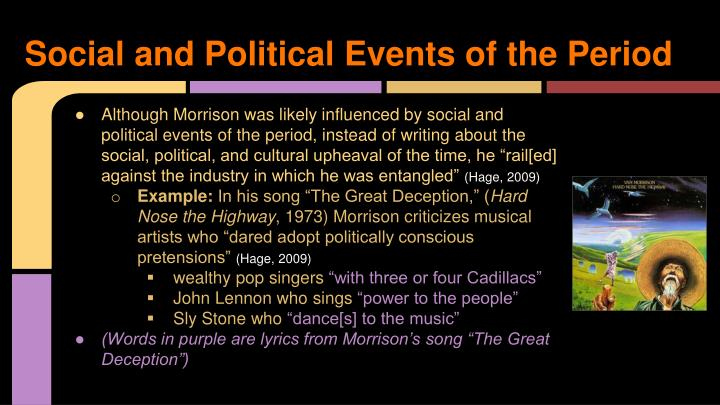 Social and Political Events of the Period