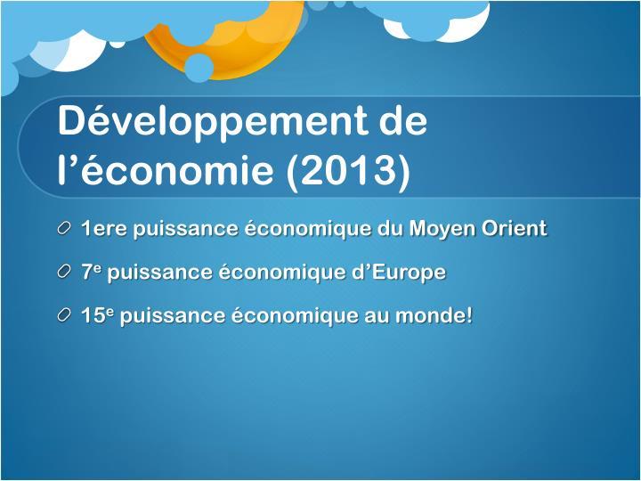 Développement de l'économie (2013)