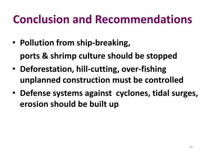 conclusion and recommendations on water pollution Marine pollution occurs when harmful, or potentially harmful, effects result from the entry into the ocean of chemicals, particles, industrial, agricultural, and.