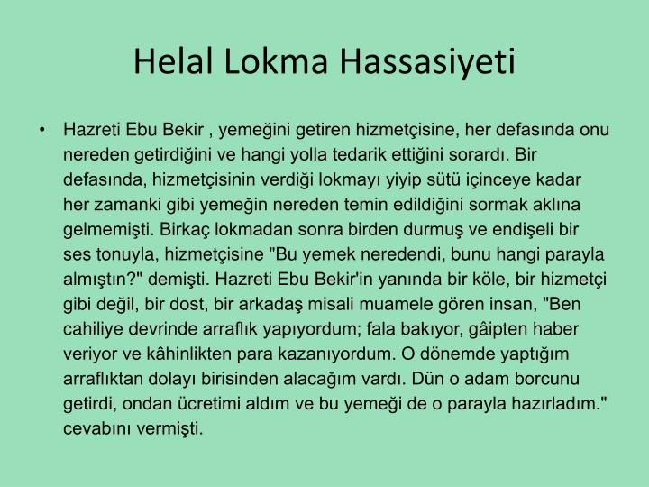Helal Lokma Hassasiyeti
