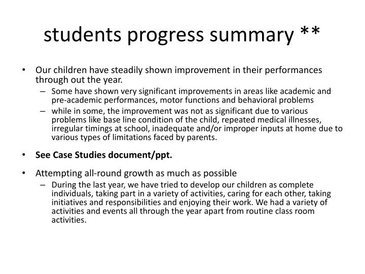 students progress summary **