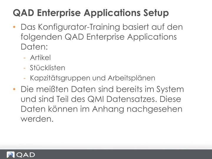 QAD Enterprise Applications Setup