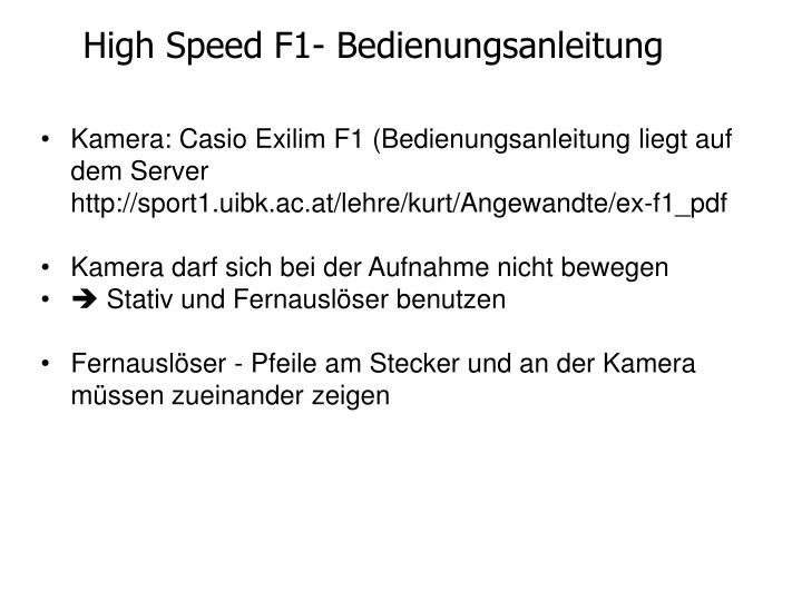 High speed f1 bedienungsanleitung