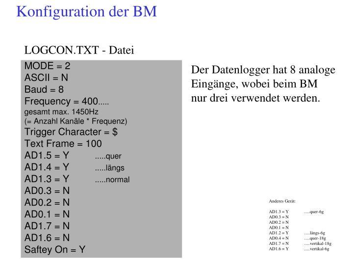 Konfiguration der BM