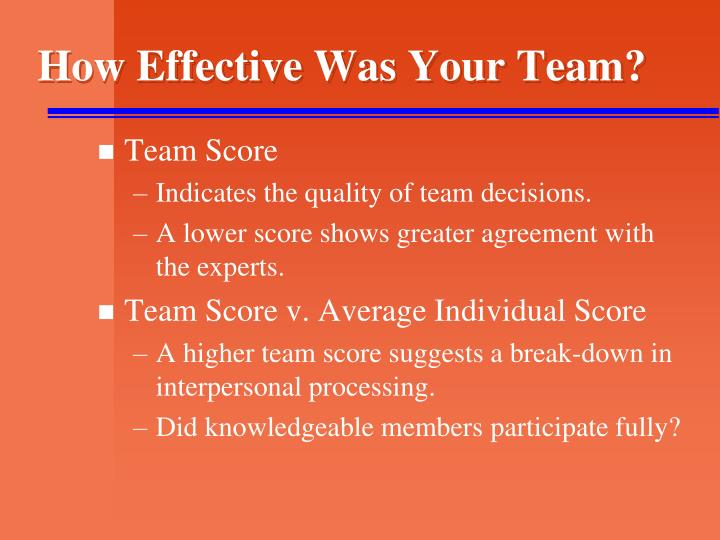 How Effective Was Your Team?