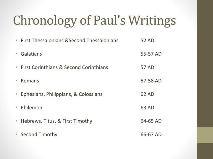 Chronology of Paul's Writings