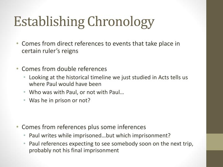 Establishing Chronology