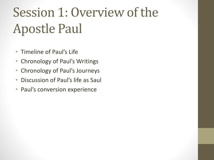 Session 1: Overview of the Apostle Paul