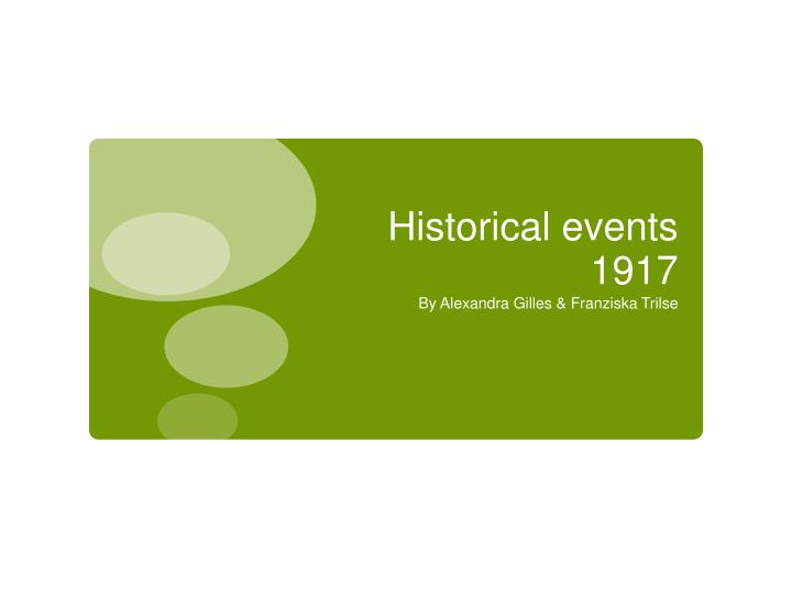 Historical events 1917