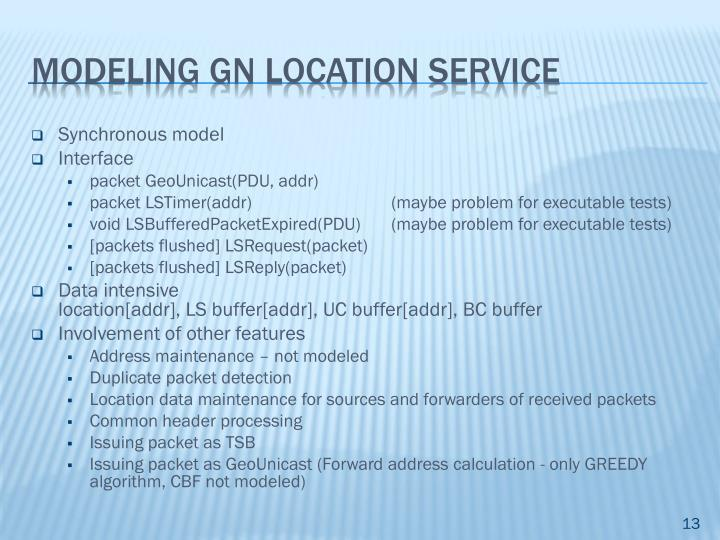 Modeling GN location service