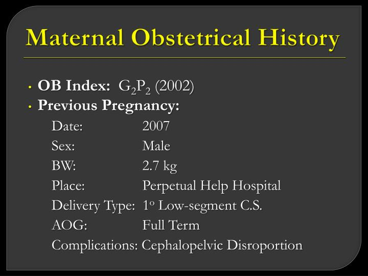 Maternal Obstetrical History