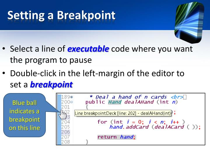 Setting a Breakpoint