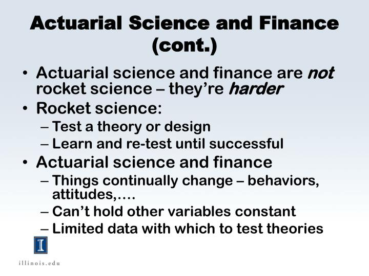 Actuarial Science and Finance