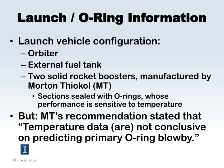 Launch / O-Ring Information
